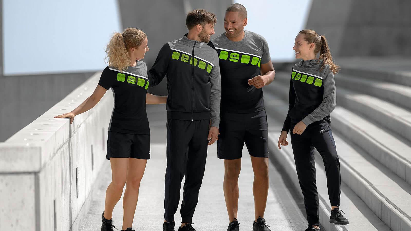 Die Erima 5-C Sportbekleidung für alle Sportarten. Hol dir das Design der 5-Cubes.